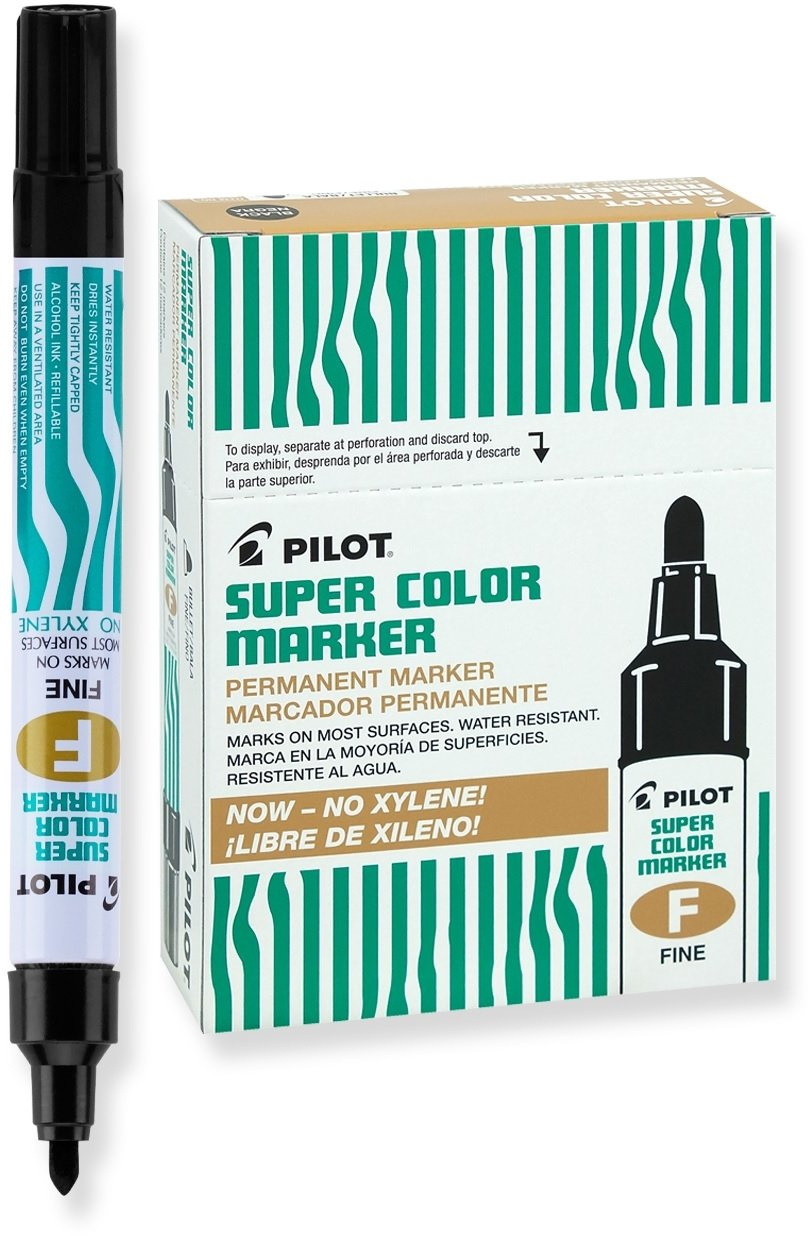 PILOT Super Color Refillable Permanent Markers, Xylene-Free Black Ink, Fine Point, 12 Count (40600)