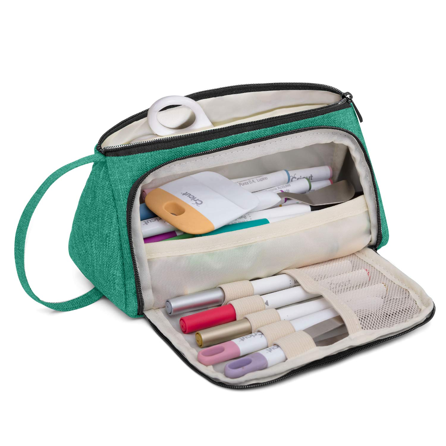 Luxja Bag for Cricut Pen Set and Basic Tools, Carrying Case for Cricut Accessories (Bag Only), Green