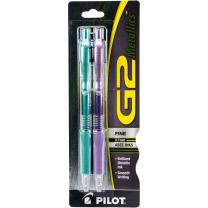 PILOT G2 Metallics Refillable & Retractable Rolling Ball Gel Pens, Fine Point, Assorted Color Inks, 2-Pack (34401)