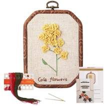 Akacraft Chinese FlowersPick Series Embroidery Starter Kit, Canvas Cloth with Color Pattern, Imitated Wood Rubber Embroidery Hoop, Color Threads, and Needles (Cole Flowers)