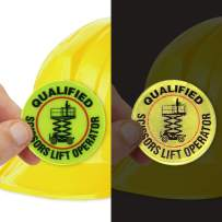 """SmartSign""""Qualified Scissors Lift Operator"""" Pack of 5 Hard Hat Labels 