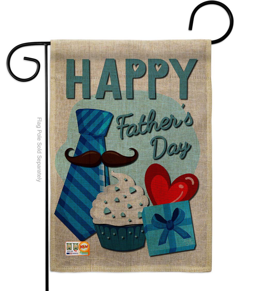 Breeze Decor Father's Day Happy Burlap Garden Flag Family Dad Daddy Papa Grandpa Best Parent Sibling Relatives Grandparent Small Decorative Gift Yard House Banner Double-Sided Made in USA 13 X 18.5