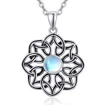 Silikepa 925 Sterling Silver Moonstone Necklace Irish Celtic Knot Pendant Jewelry Necklaces Good Luck for Women Girls Ladies Birthday Gift with Box Package and Chain