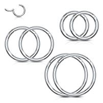 BodyJ4You 6PC Segment Ring Seamless Nose Lip Cartilage Hoop 14G 16G 18G Multicolor Steel Clicker