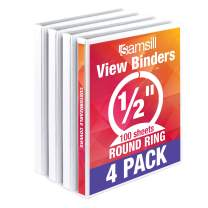 Samsill Economy 3 Ring Binder Organizer, .5 Inch Round Ring Binder, Customizable Clear View Cover, White Bulk Binder 4 Pack