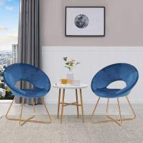 Duhome Set of 2 Velvet Accent Chairs Upholstered Vanity Chairs Make-up Stool Home Office Guest Reception Chair Arm Leisure Chairs Dining Chair with Golden Legs Mid-Back for Living Room Blue