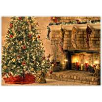 Allenjoy 8x6ft Fabric Christmas Fireplace Photography Backdrop Santa Red Lights Gifts Presents for Newborn Children Baby Shower Birthday Eve Party Family Gathering Decoration Photo Shoot Background