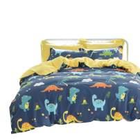 Brandream Dinosaur Bedding Sets Kids Full Size Bedding Cotton 100% Boys Duvet Cover Set Reversible 3-Piece Zipper Closure (Comforter Not Included)