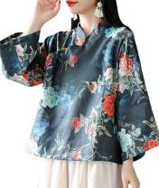YESNO E89 Girls Casual Retro Floral Blouse Shirts Cropped Tops 100% Linen Chinese Qipao Frogs Side Split 3/4 Sleeve