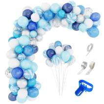 134 Pcs Blue Balloons Garland Arch Kit 12'' 10'' 5'' Navy Royal Blue White Balloons Confetti Pearlescent Latex Sliver Metallic Balloons for Boy Birthday Baby Shower Wedding Party Decorations Supplies with Balloon Strip, Tying Tool, Glue Dots & Ribbon