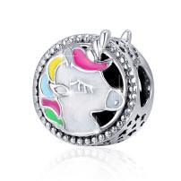 BAMOER 925 Sterling Silver Evil Eye Charms Beads for Snake Chain Bracelet Necklace for Women