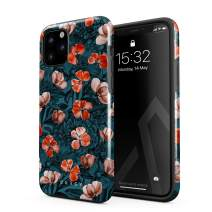 BURGA Phone Case Compatible With iPhone 11 PRO - Red Poppies Flower Bouquet Floral Print Pattern Fashion Designer Cute For Women Heavy Duty Shockproof Dual Layer Hard Shell + Silicone Protective Cover