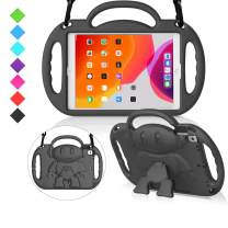 """MENZO Kids Case for New iPad 10.2"""" 7th Generation 2019, Light Weight Shockproof Shoulder Strap Handle Stand Case for New iPad 10.2-Inch 2019 Released (Latest Model) - Black"""