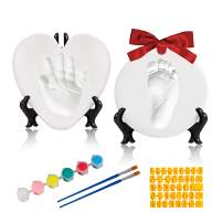 Baby Handprint and Footprint Kit,Ornament Keepsake Kit,Deluxe Clay Casting Kit for Baby Shower Gifts,Baby Xmas Ornament or Memorial with Bonus Personalization Tool & Display Stands.