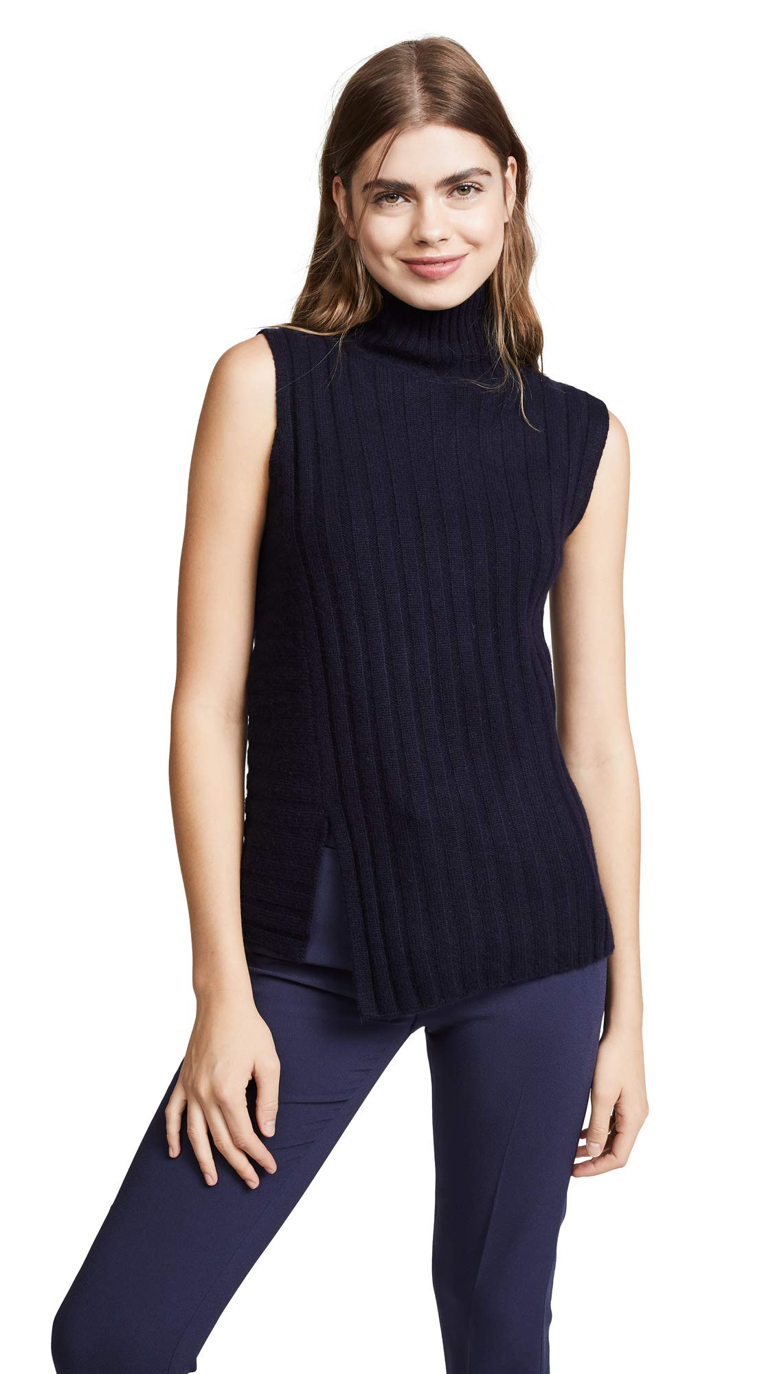 Vince Women's Rib Sleeveless Turtleneck Sweater