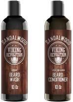 Beard Wash & Beard Conditioner Set w/Argan & Jojoba Oils - Softens & Strengthens - Natural Sandalwood Scent - Beard Shampoo w/Beard Oil (10oz)