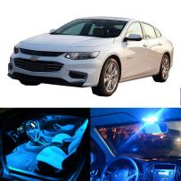 cciyu 5 Pack Ice Blue 2 Pack White LED Bulb LED Interior Lights Accessories Replacement Package Kit Replacement fit for 2015-2017 Chevy Malibu