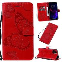 Cmeka 3D Butterfly Wallet Case for iPhone 11 Pro 2019 5.8 inch with Credit Card Slots Holder Magnetic Closure Slim Flip Leather Kickstand Function Protective Case Red