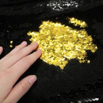 Sequins Sewing Fabric Mermaid Flip Up Sequin Reversible Sparkly Fabric 1 Yard (36'' x 47'') for Dress Clothing Making Home Decor (Black & Gold)