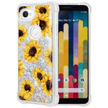 Caka Case for Google Pixel 3a XL Floral Glitter Case Luxury Fashion Bling Flowing Liquid Floating Sparkle Glitter Soft TPU Flower Case for Google Pixel 3a XL (Sunflower)