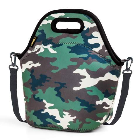 Neoprene Lunch Bag for Boys, Insulated Lunch Box Bag for Kids, Waterproof Leakproof Lunch Sack Lunch Box with Strap for School Picnic (Camo)