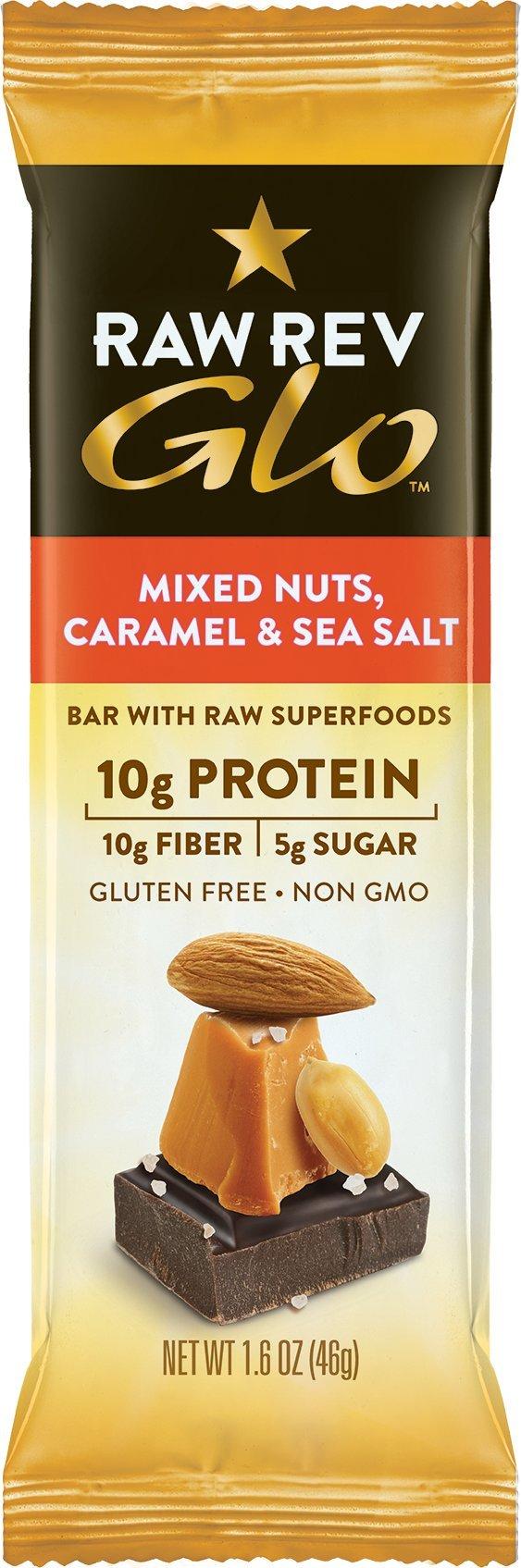 Raw Rev Glo Vegan, Gluten-Free Protein Bars - Mixed Nuts Caramel & Sea Salt 1.6 ounce (Pack of 24)