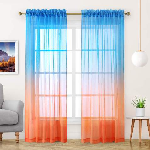 Semi Sheer Curtains Faux Linen, Sheer Orange Curtains