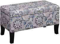 Convenience Concepts Designs4Comfort Winslow Storage Ottoman, Gray Flora