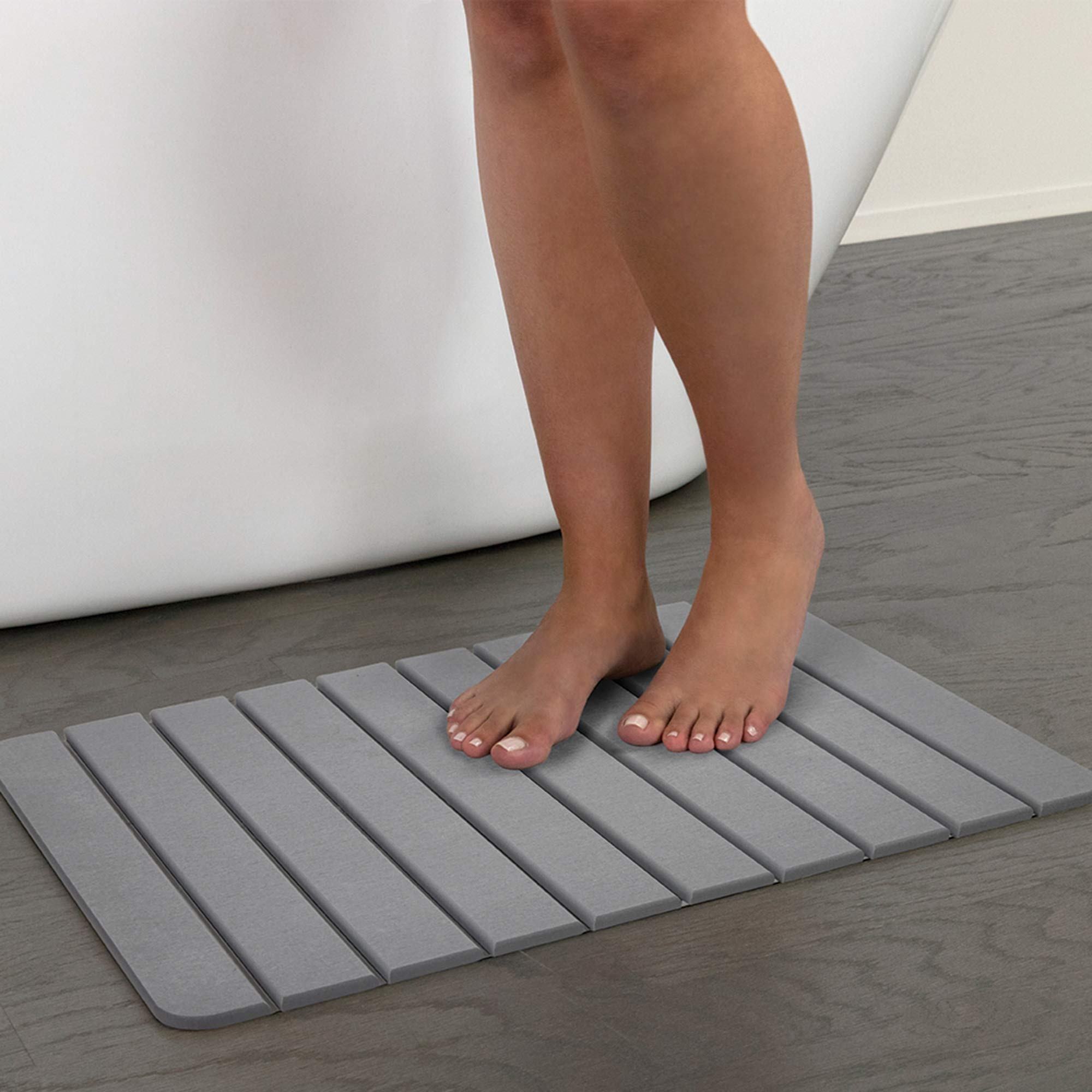 "EXCELL Drystone Slat, Bathroom Floor Non-Slip Absorbent, Quick Drying and Anti-Microbial Bath Mat, 15.35"" X 23.62"", Grey"