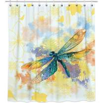 Bonsai Tree Dragonfly Shower Curtains, Watercolor Spring Themed Cloth Shower Curtains in Bath, Nature Artwork Oil Painting Bathroom Shower Curtains Rings Home Decor 72x78 Inches