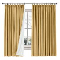 TWOPAGES 120 W x 84 L inch Blackout Curtains for Living Room Cotton Blend Room Darkening Blackout Curtains with Interlining, (1 Panel, Honey Gold)