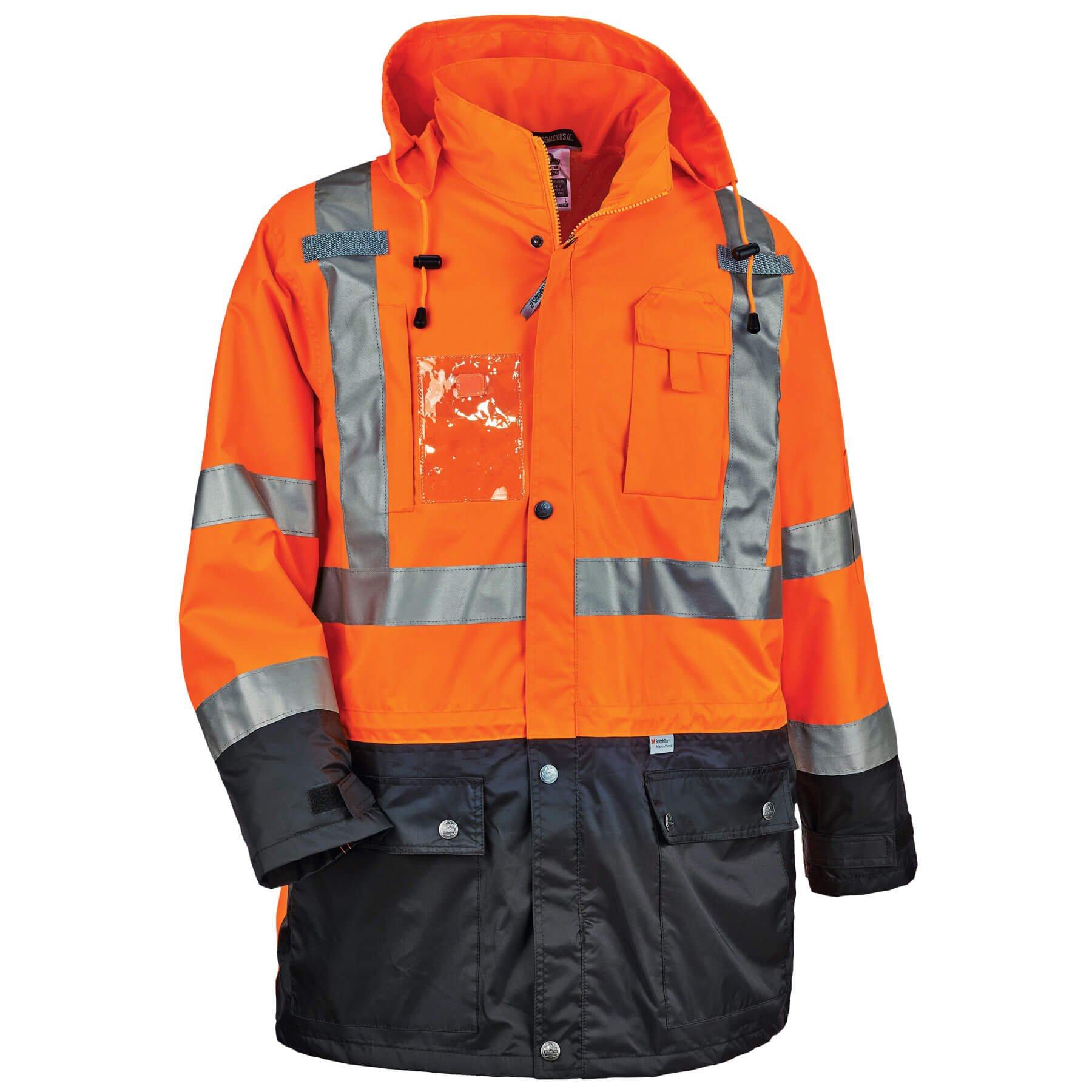Ergodyne Glowear 8386 High Visibility Reflective Outer Rain Shell Jacket X Large Orange