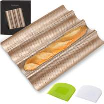 COSYLAND Perforated Baguette Pan for French Bread Baking - 4 wave Loaf, Nonstick Bake Mold - Dough Scraper + Cooking bakers' tools for Professional & Home Bakers (Gold)