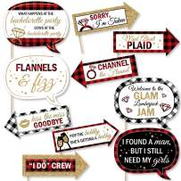 Big Dot of Happiness Funny Flannel Fling Before the Ring - Buffalo Plaid Bachelorette Party Photo Booth Props Kit - 10 Piece