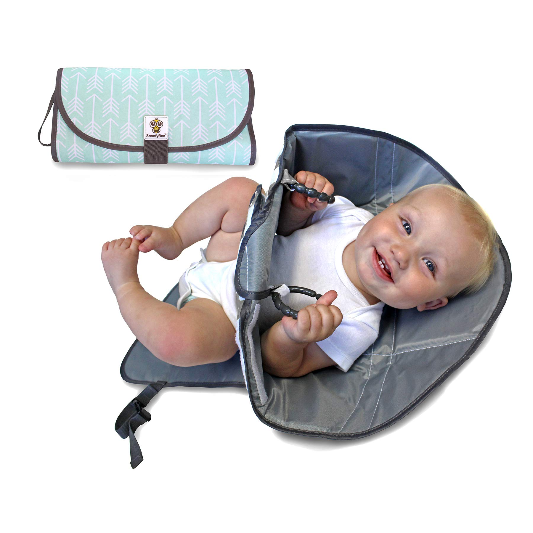 SnoofyBee Portable Clean Hands Changing Pad. 3-in-1 Diaper Clutch, Changing Station, and Diaper-Time Playmat with Redirection Barrier for use with Infants, Babies and Toddlers (Arrows)
