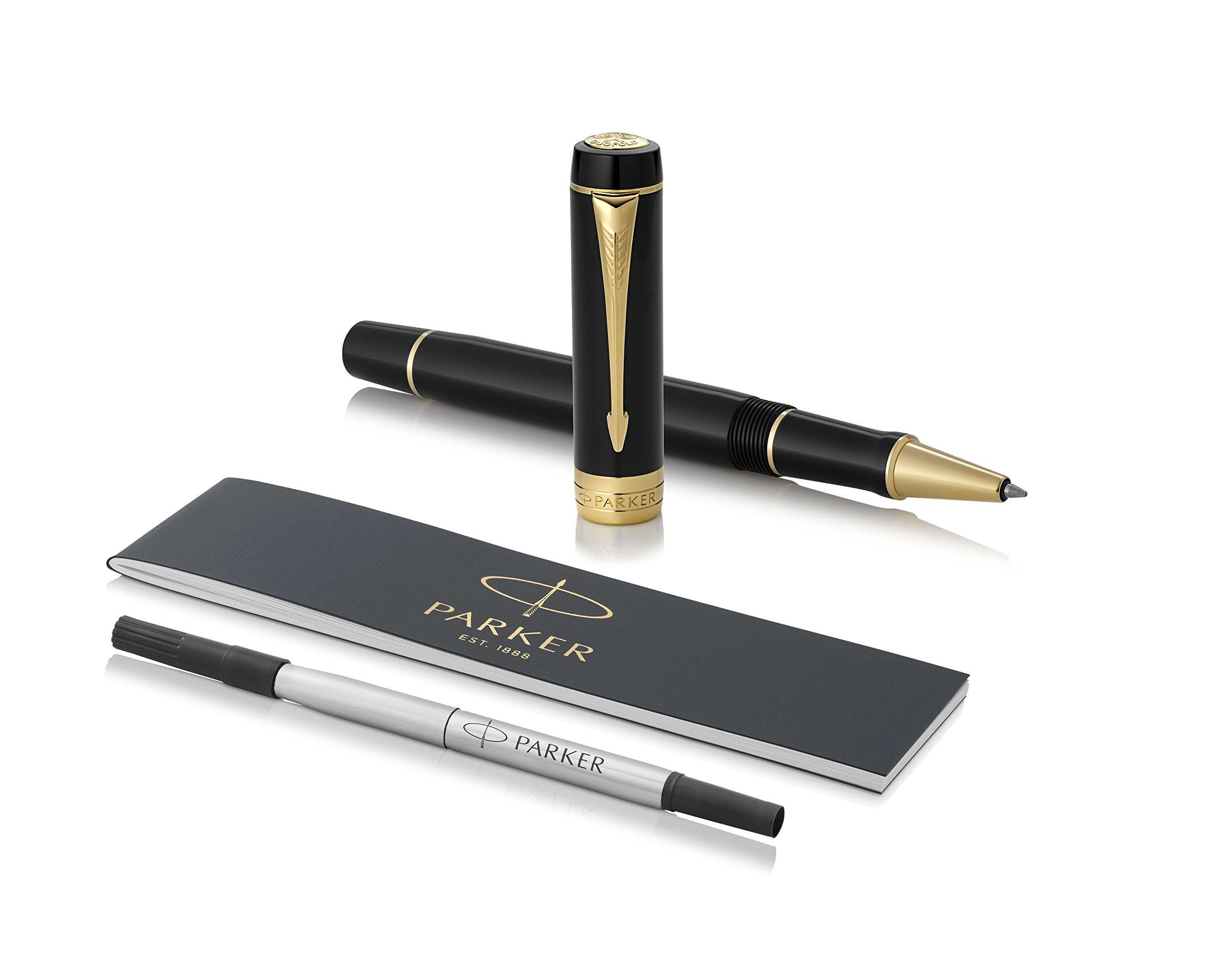 PARKER Duofold Rollerball Pen, Classic Black with Gold Trim, Fine Point Black Ink Refill