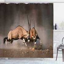 "Ambesonne Africa Shower Curtain, Fight Between 2 Gemsbok on Plains of Etosha Namibia Savage Safari Theme Design, Cloth Fabric Bathroom Decor Set with Hooks, 84"" Long Extra, Brown Tan"