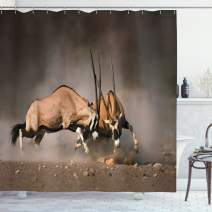 "Ambesonne Africa Shower Curtain, Fight Between 2 Gemsbok on Plains of Etosha Namibia Savage Safari Theme Design, Cloth Fabric Bathroom Decor Set with Hooks, 84"" Long Extra, Brown Tan"