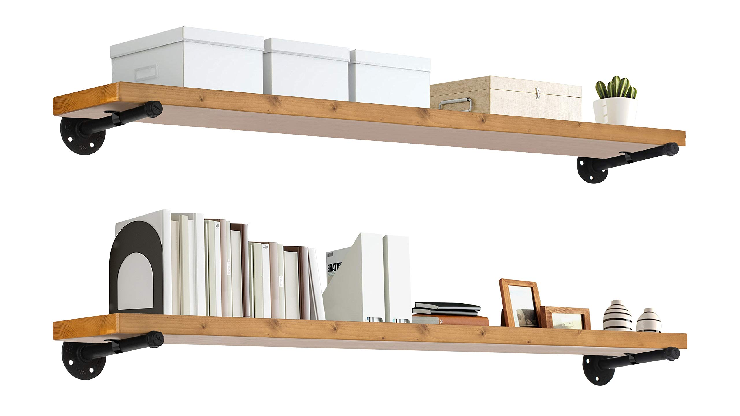 """TEN49 Industrial Wood Shelf - 48"""" Special Walnut Rustic Wooden Wall Shelves with Iron Pipes - Contemporary Interior Decor Floating Shelving with Pipe Brackets - Farmhouse Style Bookshelf Set of 2"""