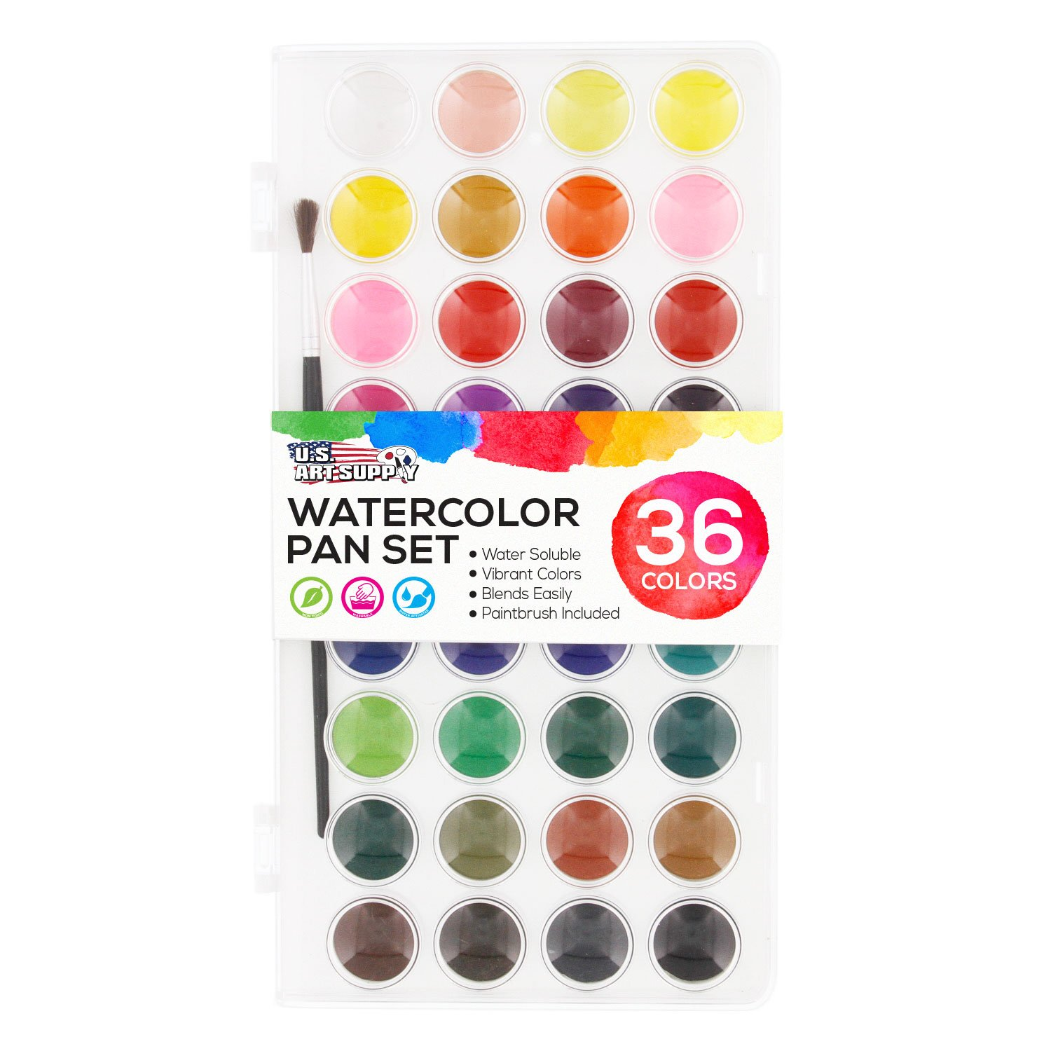 U.S. Art Supply 36 Color Watercolor Artist Paint Set with Plastic Palette Lid Case and Paintbrush - Watersoluable Cakes