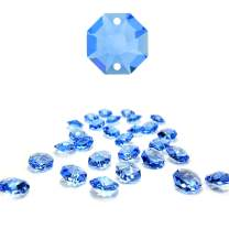 CrystalPlace 12 Pcs Swarovski Crystal, 14mm Medium SapphireTwo Holes Strass Octagon Lily, Ideal for Jewelry Making, Chandelier Parts, Arts Crafts