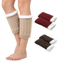 DREAM SLIM Women's Leg Warmers Knitted Crochet Thicken Short Boots Cuffs Leg Knee Ankle Warmers 3 Pack