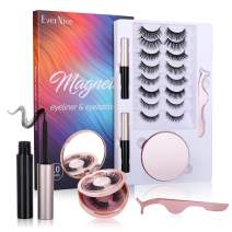 EverNice 2021 Upgraded Magnetic Eyelashes with Eyeliner, 10 Pairs Magnetic eyelashes,with Tweezers and Mirror Box Easy to Carry