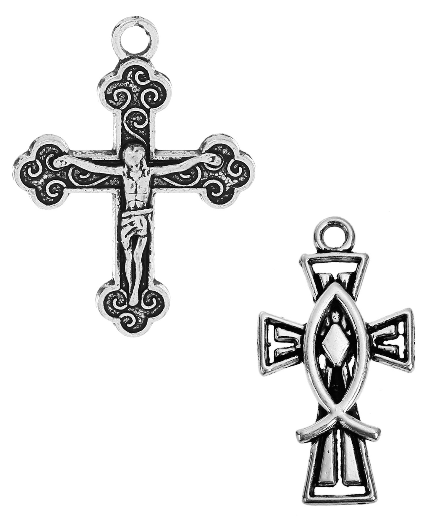 Cross Crucifix Charm Pendants, 100 Pack (50 of Each) (Set 1)