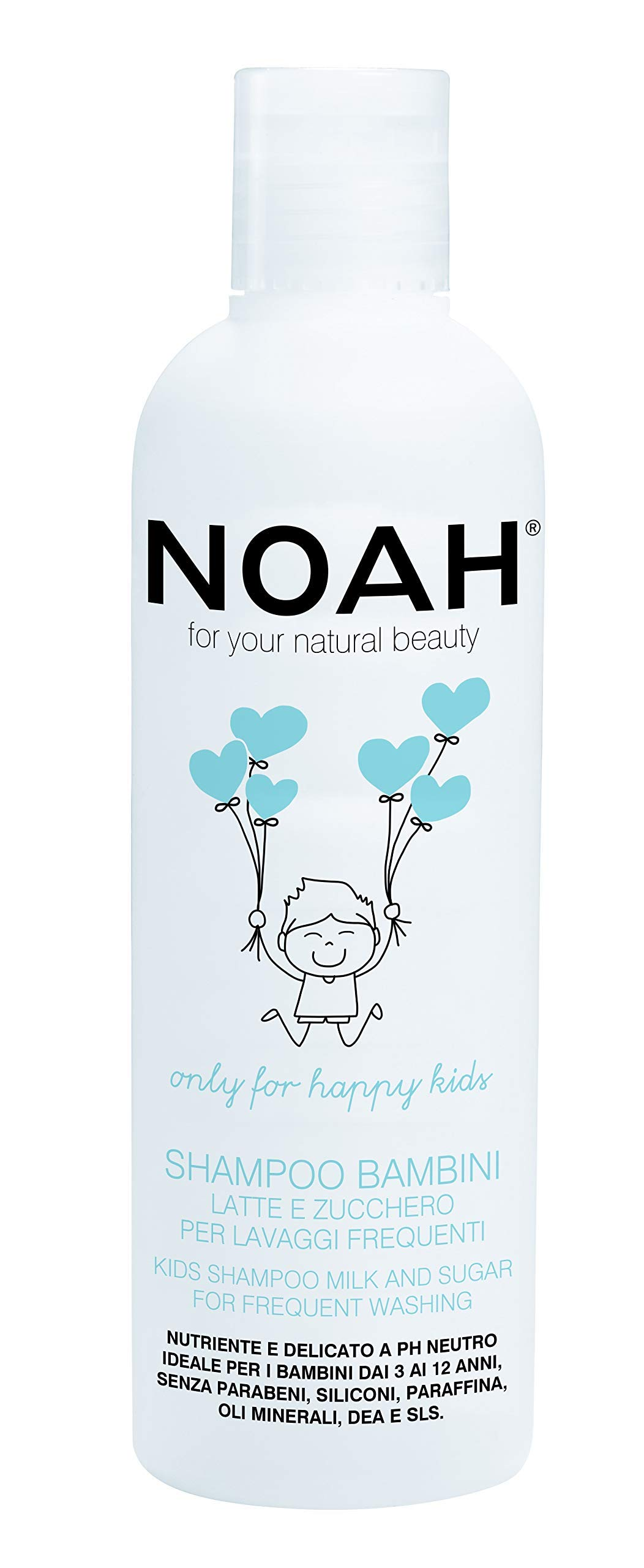 NOAH Kids Detangling Shampoo with Milk Protein & Sugar for Frequent Hair Wash - Organic, Sulfate, Eco Friendly, Non Toxic, Cruelty Free Shampoo - Sensitive, Hydrating, Gentle Shampoo, 8.5 Fl. Oz