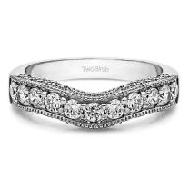 1 Carat Cubic Zirconia Vintage Filigree & Milgrained Curved Wedding Band in Sterling Silver