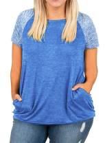 DOLNINE Womens Plus Size Tops Short Sleeve Striped Raglan Tunics with Pockets
