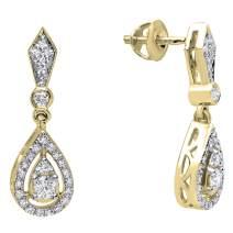 Dazzlingrock Collection 0.35 Carat (ctw) 14K Gold Round White Diamond Ladies Dangling Drop Earrings 1/3 CT