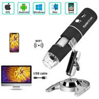 Koolertron Wireless WiFi Digital USB Microscope,Portable USB Digital Microscope Camera with 1000x Magnification 1080P HD 2MP and 8 LED Adjustable Light for iPhone, iPad, Android Phone, Windows, Mac