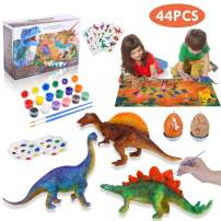 Lehoo Castle Decorate Your Own Dinosaur Figurines 44pcs DIY Dinosaur Crafts and Arts Set Painting Kit Dinosaurs Toys Easter Gift for Kids Boys Girls Age 4 5 6 7